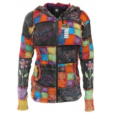 Animal Embroidery Patchwork Ribs Hoody