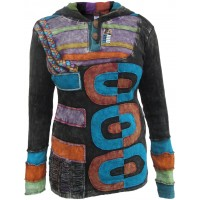 Black Three Circle Pullover Ribs Hoody