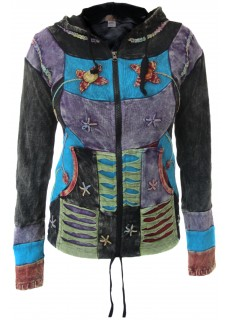 Flower Patchwork Stonewashed Ribs Hoody