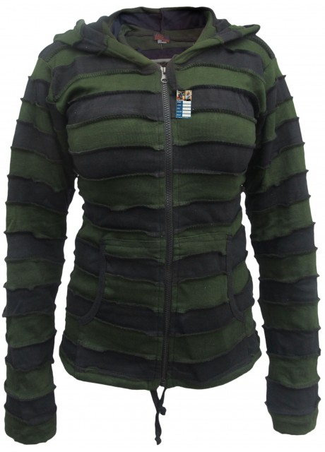 Green Black Stripey Goth Ribs Hoody