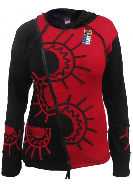 Half Sun Psychadelic Side Zip Red Hoody