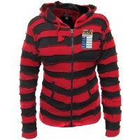 Red Black Stripey Goth Ribs Hoody