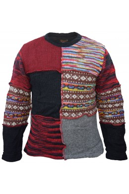 Crew Neck Patchwork Fleece Lined Wool Jumper Overlock Patch
