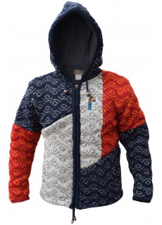 Abstract Patchwork Woolly Jacket