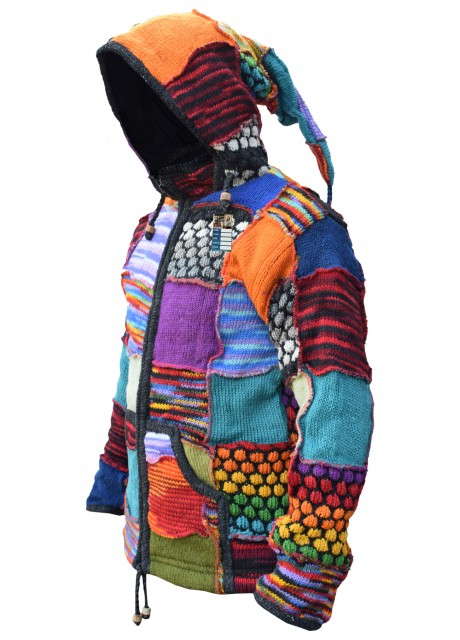 Bubbleknit Patchwork Pixie Hooded Jumper