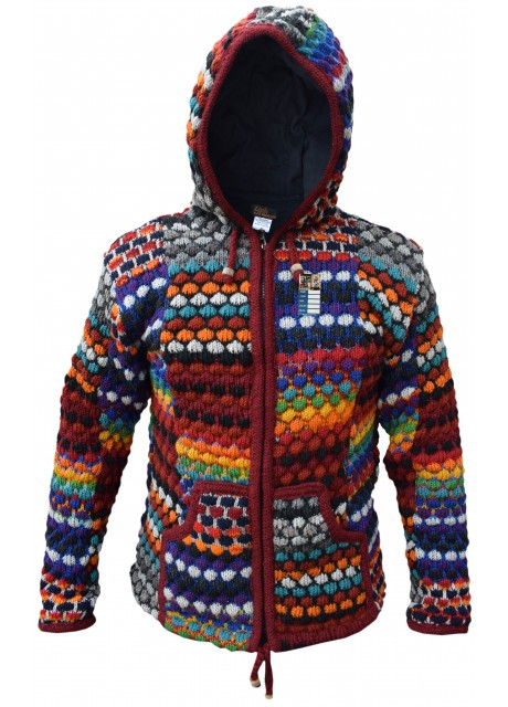 Bubbleknit Rainbow Patchwork Woolly Jacket