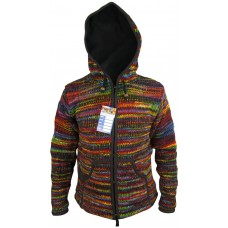 Black Rainbow Tiedye Woolen Jacket