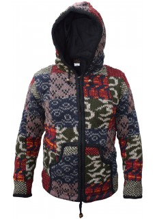 Scribble Patchwork Woolen Jacket