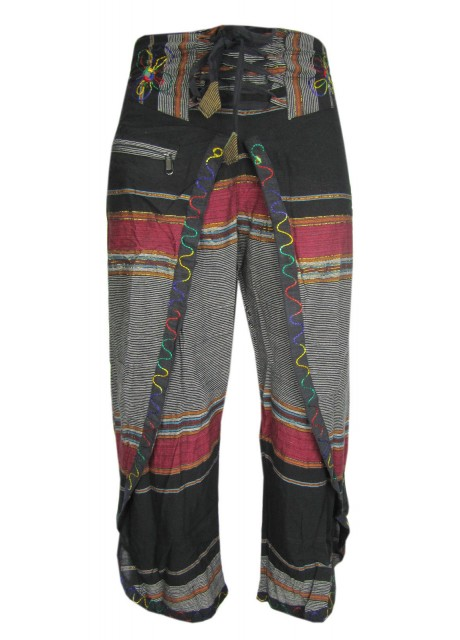Black Maroon Wrap Around Trousers