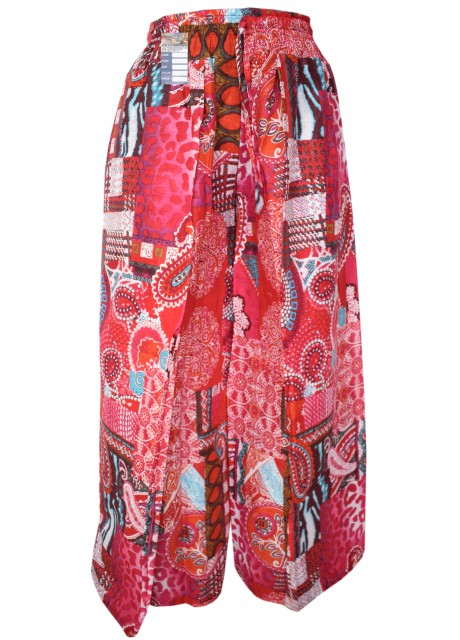 Floral Psychedelic Red Wrap Around Trousers