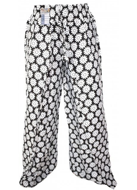 Floral White Gears Wrap Around Trousers