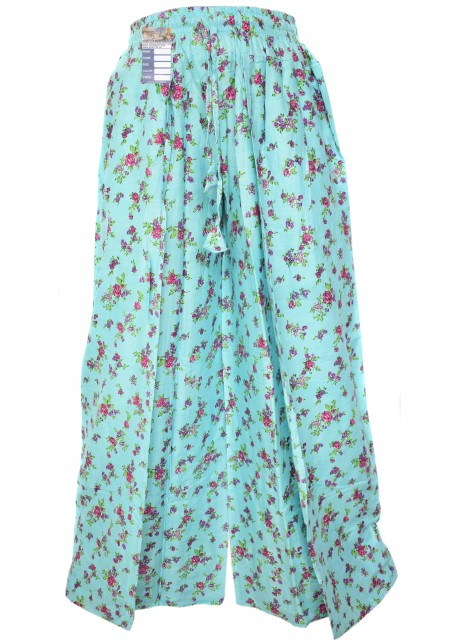 Floral Sky Blue Wrap Around Trousers