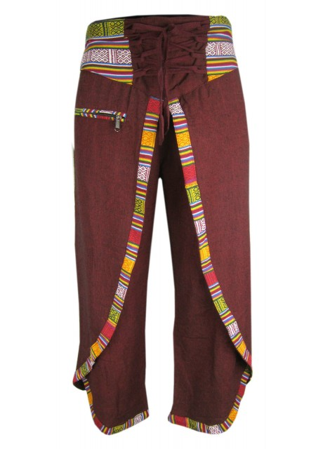 Hemp Maroon Wrap Around Trousers