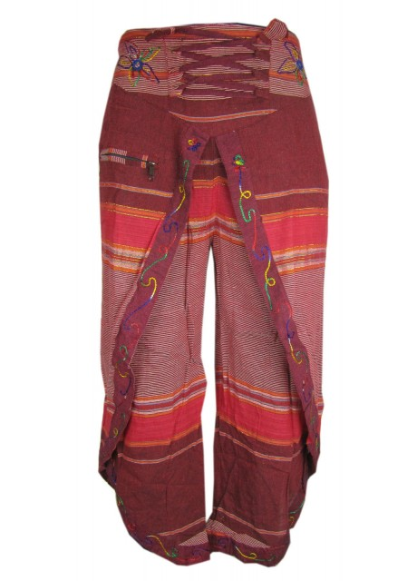 Maroon Red Wrap Around Trousers