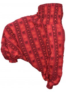 Cotton Drop Crotch Harem Pants Om Red