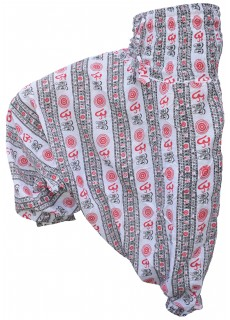 Cotton Drop Crotch Harem Pants Om White