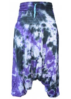 Womens Tie Dye Cotton Harem Pants Purple Black Marble