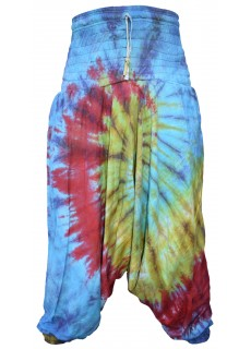 Womens Tie Dye Cotton Harem Pants Front Spiral