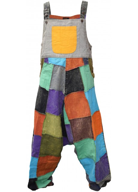 Cotton Colorful Patchwork Dungarees