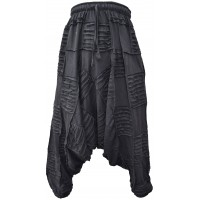 Black Patchwork Ribs Razorcut Harem Pants