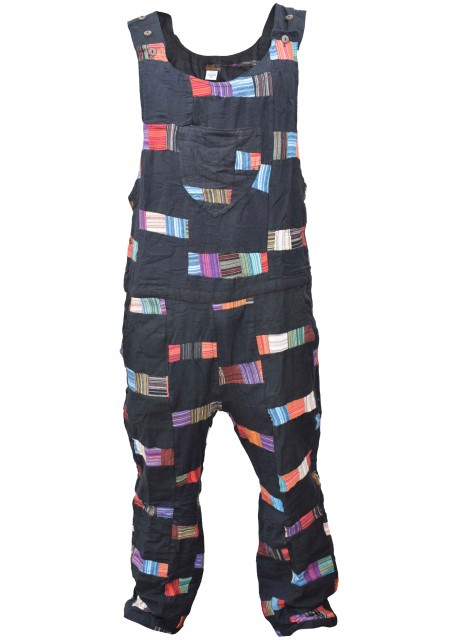 Cotton Black Patchwork Dungarees Overalls