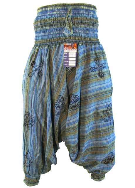 Stonewashed Torqoise Blue Harem Pants