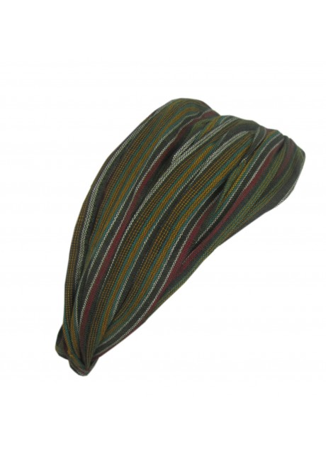 Green Stripey Elastic Headband
