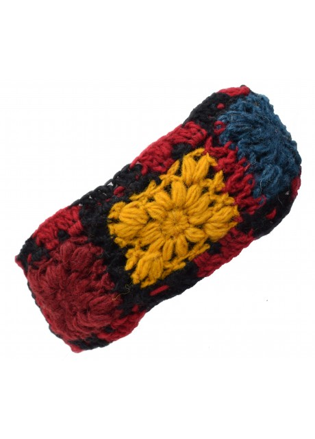 Woolen Headband Red Black