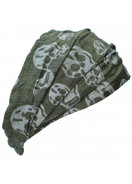 Skullprint Green Elastic Headband