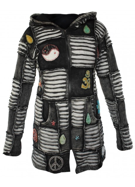 Black OM Patchwork Ribs Coat