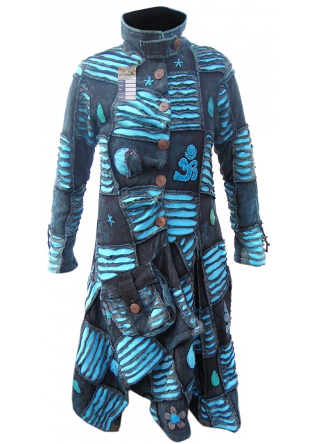 Blue OM Patchwork Ribs Aysmmetrical Coat