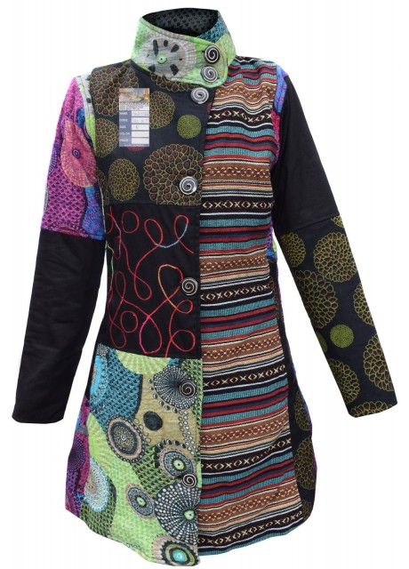 Gheri Cotton Felt Wool Patchwork Longcoat