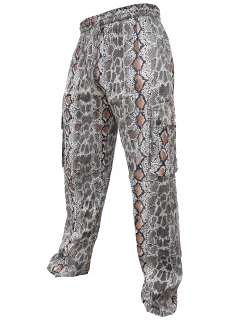 Snake Printed Cotton Cargo Trouser