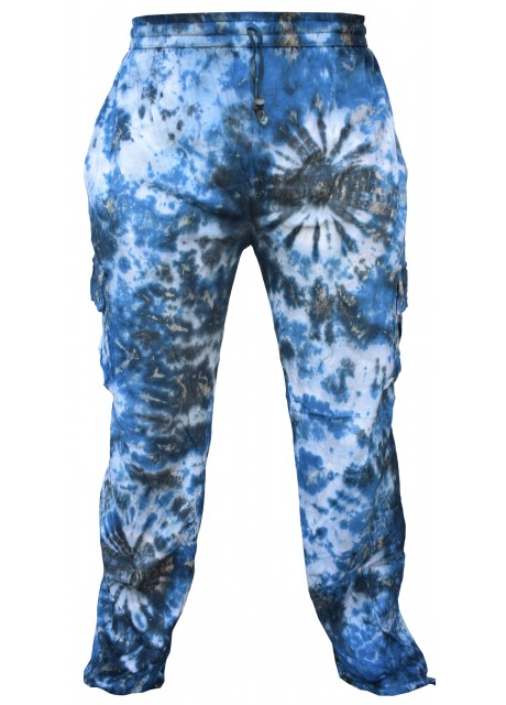 Tie Dye Cargo Drawstring Hem Cotton Pants Blue Marble