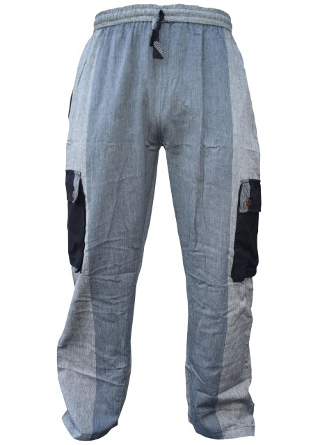 Plain Striped Grey Multicolored Cargo Trouser