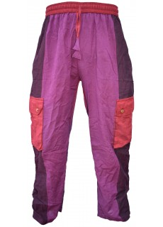 Plain Striped Purple Multicolored Cargo Trouser