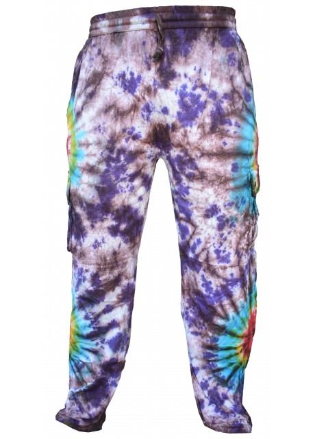 Tie Dye Cargo Drawstring Hem Cotton Pants Double Rainbow