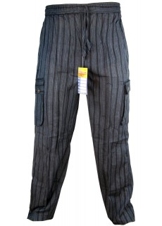 Striped Black Cargo Trouser
