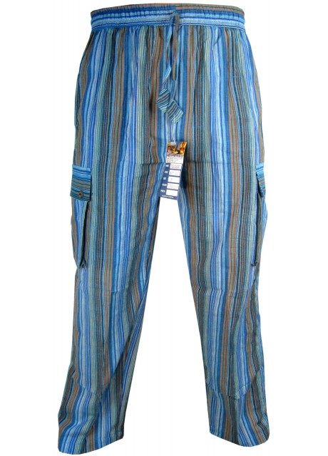 Striped Turquoise Cargo Trouser
