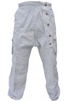 Button Up Crinkled Harem Cargo Hemp Trousers