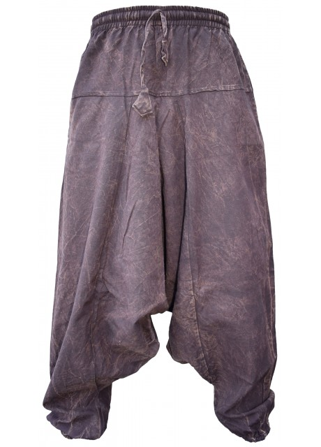 Brown Stonewashed Mens Harem Pants