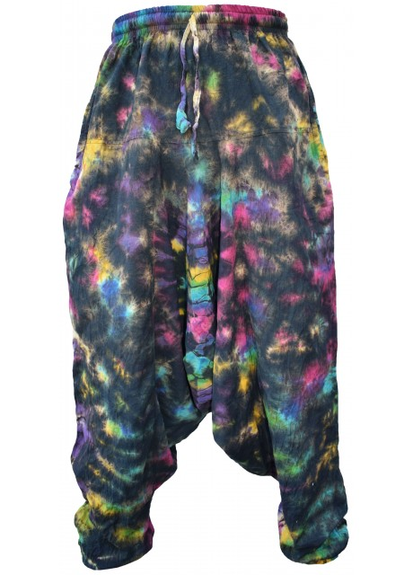 Black Rainbow Tie Dye Mens Harem Pants
