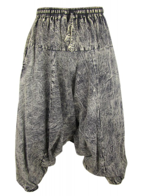 Black Stonewashed Mens Harem Pants