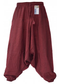 Hemp Maroon Mens Harem Pants