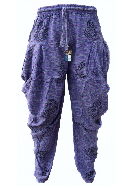 Samurai Pants Purple Stonewashed