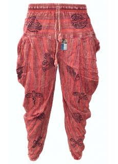 Samurai Pants Red Stonewashed